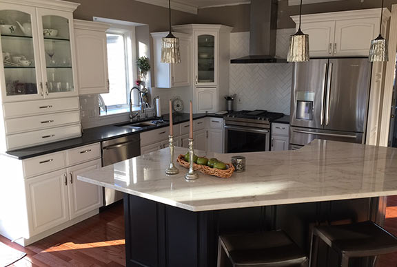 Granite kitchen island and countertop