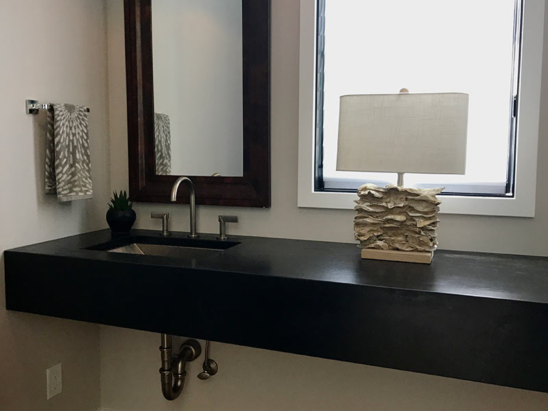 Oiled Black Soapstone bathroom counter.