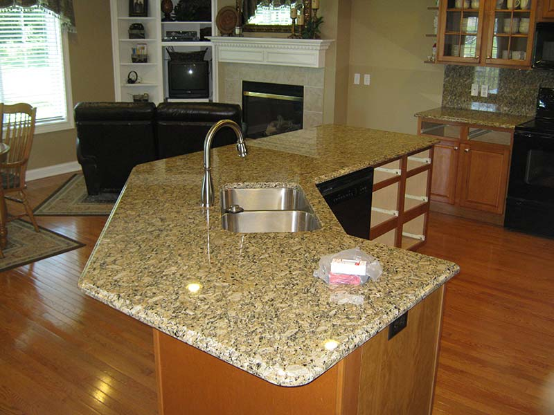 Juperana Gold Granite kitchen island.