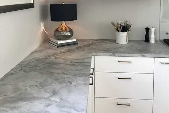 Honed Silver Grey marble kitchen counter