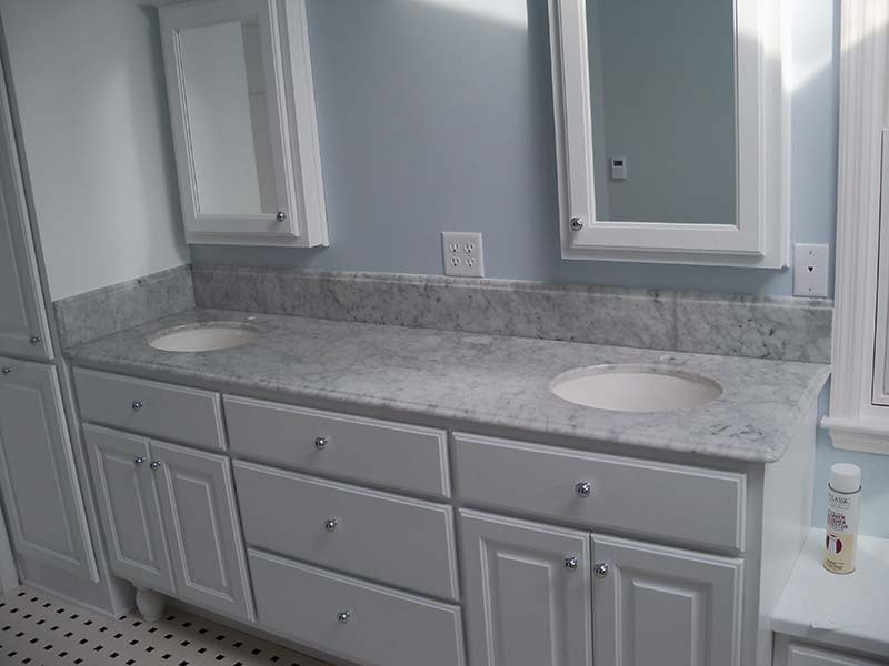 Bianco Carrara or Italian White Marble over white cabinets!
