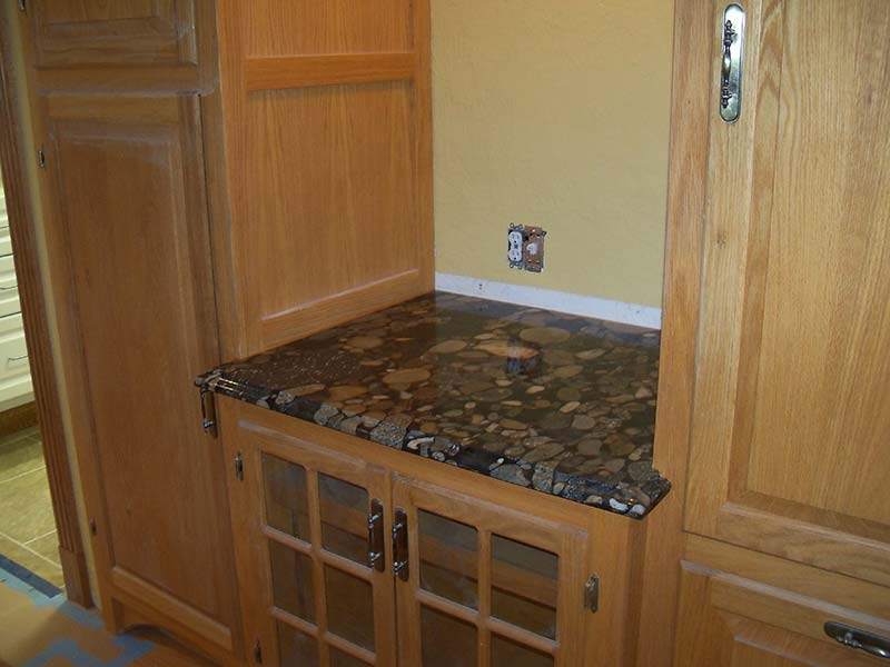 Black Marinace Granite counter top on mini counter.